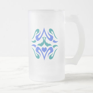 Dolphins and Heart Frosted Glass Beer Mug