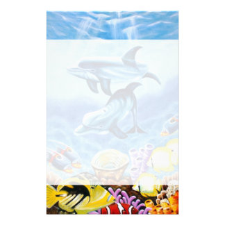 Dolphins and Tropical Fish Art Stationery Design