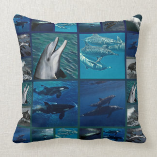 Dolphins And Whales Collage Throw Pillow