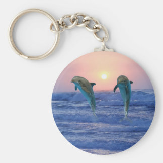 Dolphins at sunrise basic round button keychain