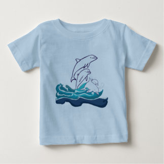 Dolphins Baby Fine Jersey T-Shirt, White Baby T-Shirt