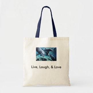 dolphins-bottlenose, Live, Laugh, & Love Budget Tote Bag