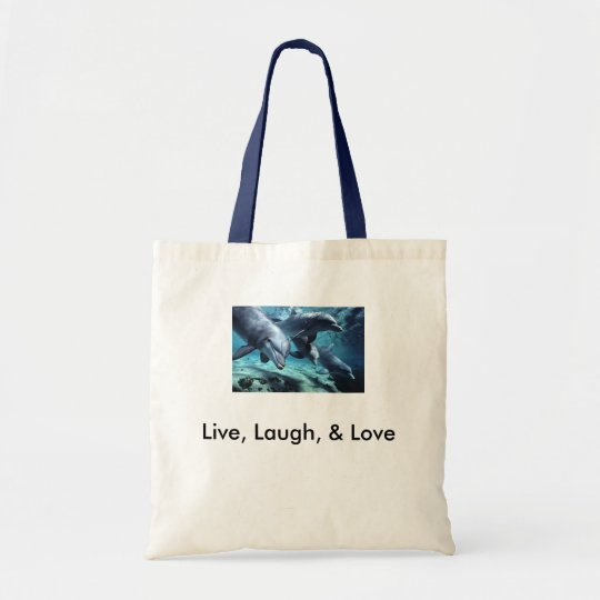 dolphins-bottlenose, Live, Laugh, & Love Tote Bag