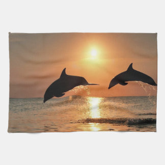 Dolphins by Sunset Hand Towel