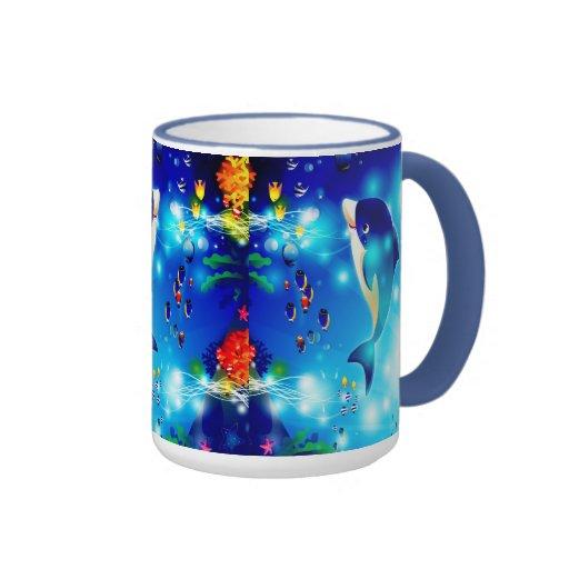 Dolphins & Colorful Sea-Life Digital Illustration Mugs