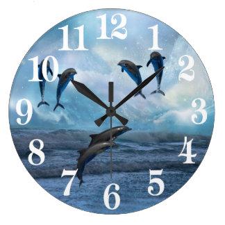 Dolphins fantasy large clock