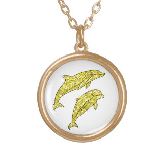 Dolphins Gold Plated Necklace