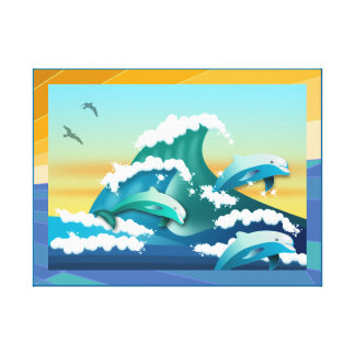 DOLPHINS HOME GIFT.  DOLPHIN JUMPING CANVAS PRINT