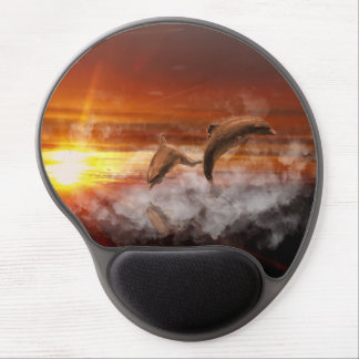 Dolphins In Clouds at Sunset Collage Gel Mousepad