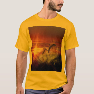 Dolphins In Clouds at Sunset Collage T-Shirt