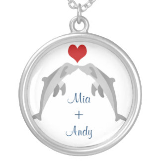 dolphins in love silver plated necklace