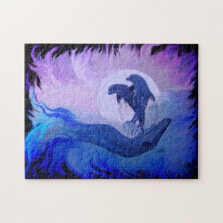 Dolphins in the moonlight jigsaw puzzle