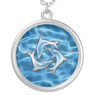 Dolphins in Water Silver Plated Necklace