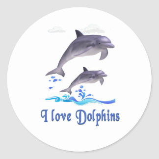 Dolphins items classic round sticker