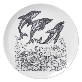 Dolphins Jumping Dinner Plate