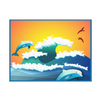 DOLPHINS JUMPING IN THE OCEAN CANVAS ART