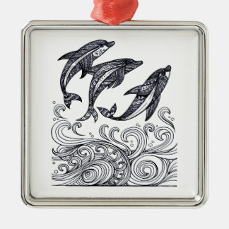 Dolphins Jumping Metal Ornament
