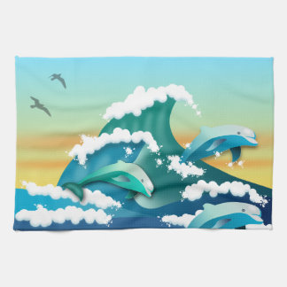 DOLPHINS JUMPING OUT OF WATER, SEA KITCHEN TOWEL