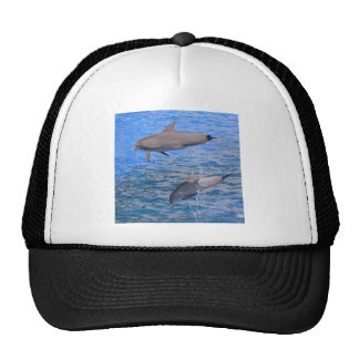 Dolphins jumping out of water trucker hat