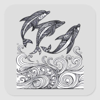 Dolphins Jumping Square Sticker