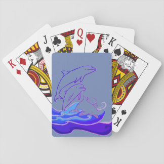 Dolphins jumping waves Classic Playing Cards