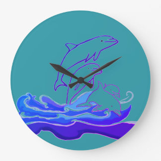 Dolphins jumping waves Round (Large) Wall Clock