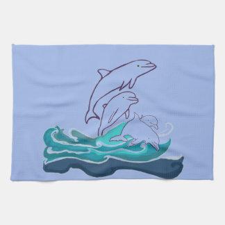 Dolphins jumping waves Tea Towel 40.6 cm x 61 cm