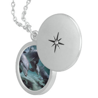 Dolphins, Medium Sterling Silver Round Locket