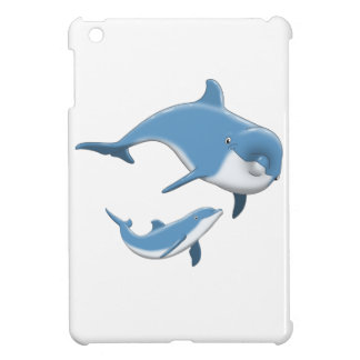Dolphins Mother and Baby Blue White Ocean iPad Mini Cover