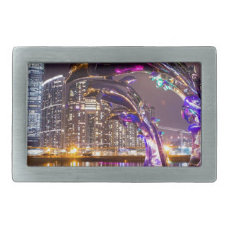 Dolphins on Urban Background Landscape Belt Buckle