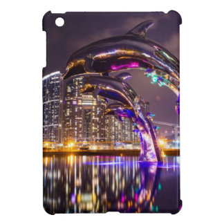 Dolphins on Urban Background Landscape iPad Mini Cover