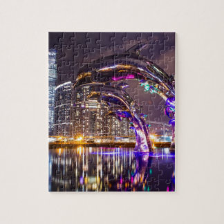 Dolphins on Urban Background Landscape Jigsaw Puzzle
