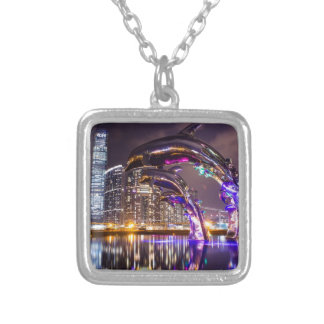 Dolphins on Urban Background Landscape Silver Plated Necklace