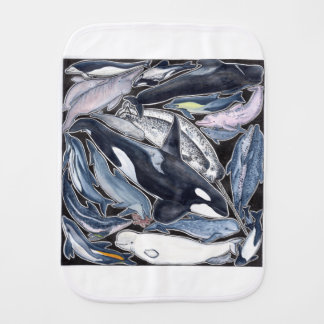 Dolphins, orcas, belugas and narvales burp cloth