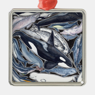 Dolphins, orcas, belugas and narvales metal ornament