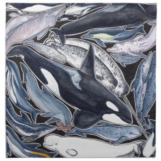 Dolphins, orcas, belugas and narvales napkin