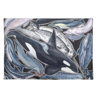Dolphins, orcas, belugas and narvales placemat