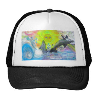 Dolphins playing in paradise trucker hat