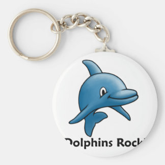 Dolphins Rock! Basic Round Button Keychain