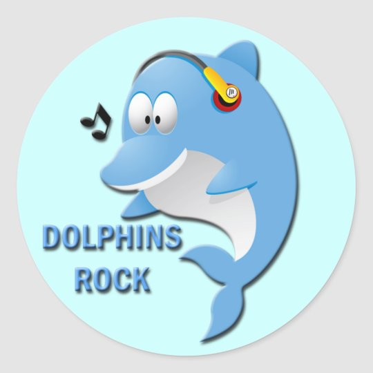DOLPHINS ROCK CLASSIC ROUND STICKER