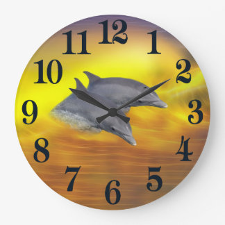 Dolphins surfing the waves large clock