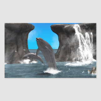 Dolphins swim and jumping in the sea sticker