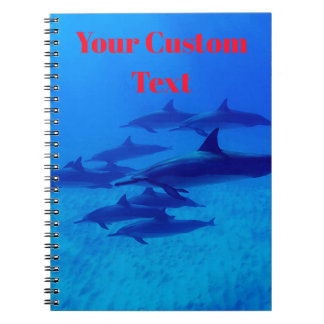 Dolphins Swimming In The Blue Sea Spiral Notebook