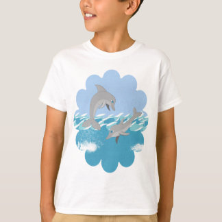 Dolphins Swimming in the Ocean Cartoon T-Shirt