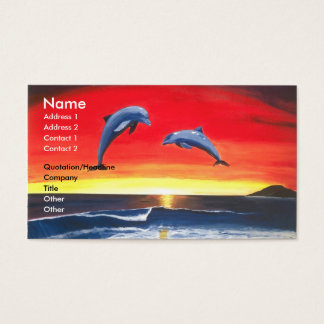 Dolphins Tropical Sunset Ocean Business Card Art