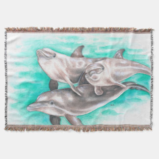 Dolphins Watercolor Teal Throw Blanket