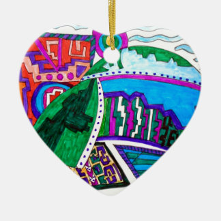 DOME HOUSE 5 CERAMIC HEART ORNAMENT