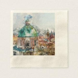 Dome in Prague Czech Republic Paper Napkins