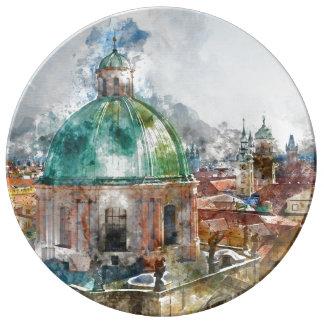 Dome in Prague Czech Republic Plate