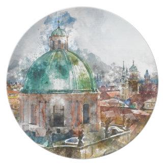 Dome in Prague Czech Republic Plates